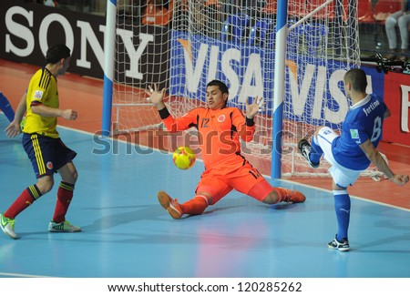 BANGKOK, THAILAND-NOV 18: Goalkeeper Carlos Nanas of Colombia in action during the FIFA Futsal World Cup between Italy and Colombia at Indoor Stadium Huamark on Nov18,2012 in Bangkok,Thailand. - stock photo