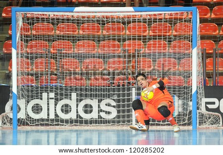 BANGKOK, THAILAND-NOV 18: Goalkeeper Juan Lozano of Colombia in action during the FIFA Futsal World Cup between Italy and Colombia at Indoor Stadium Huamark on Nov18,2012 in Bangkok,Thailand. - stock photo