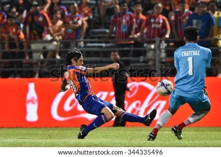 BANGKOK THAILAND-NOV22:Hironori Saruta of Thai Port Fcin action during Thai Premier League2015 between Thai Port Fc and Osotspa FCat PAT Stadium on November22,2015 in Bangkok Thailand - stock photo