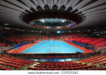 BANGKOK, THAILAND - NOV 12 :Indoor Stadium Huamark, FIFA Futsal World Cup between Russia and Czech Republic at Indoor Stadium Huamark on November 12, 2012 in Bangkok, Thailand. - stock photo