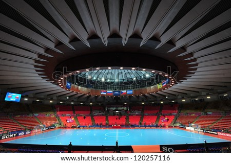 BANGKOK, THAILAND - NOV 12 :Indoor Stadium Huamark, FIFA Futsal World Cup between Russia and Czech Republic at Indoor Stadium Huamark on November 12, 2012 in Bangkok, Thailand. - stock photo