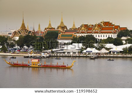 BANGKOK, THAILAND - NOV 6: Rehearsals of the Thailand's Royal Barge Procession on the Chao Phraya river for a royal ceremony marking the end of buddhist lent on November 6, 2012 in Bangkok, Thailand. - stock photo