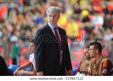 BANGKOK, THAILAND - NOV 18 : Venancio Lopez (Coach of Spain) in FIFA Futsal World Cup thailand 2012 Between Spain VS Brazil on November 18, 2012 at Indoor Stadium Huamark in Bangkok Thailand.