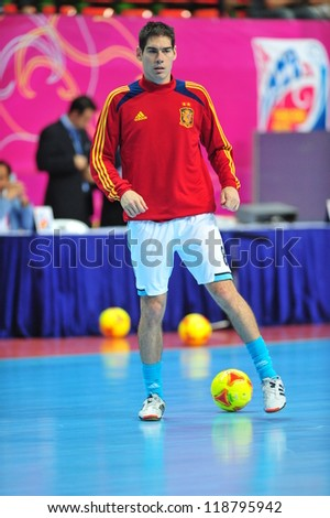 BANGKOK, THAILAND - NOVEMBER 11: Alavaro players of spain in FIFA Futsal World Cup, Round of 16 match between Thailand (R) and Spain (B) at Nimibutr Stadium on November 11, 2012 in Bangkok, Thailand.