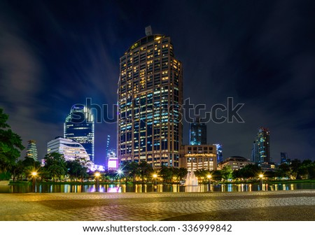 BANGKOK, THAILAND-NOVEMBER 3 : Bangkok city downtown in twilight time at November 3,2015 in Bangkok, Thailand.