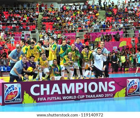 BANGKOK, THAILAND - NOVEMBER 18: Brazil winning the FIFA Futsal World Cup Final at Indoor Stadium Huamark on November 18, 2012 in Bangkok, Thailand. - stock photo