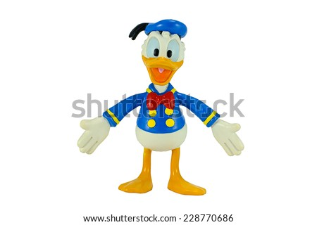 Bangkok, Thailand - November 4, 2014: Donald Duck from Mickey mouse and friends cartoon animation. This palstic toy figure from Disney animation store. - stock photo