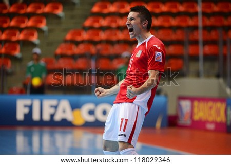 BANGKOK,THAILAND-NOVEMBER3:Michal Belej of Czech Republic celebrates after scoring during the FIFA Futsal World Cup between Czech Republic and Kuwait at Indoor Stadium on Nov3, 2012 in Thailand.