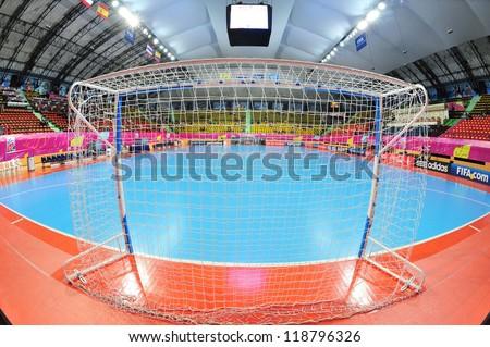 BANGKOK, THAILAND - NOVEMBER 11: Nimibutr Stadium, FIFA Futsal World Cup, Round of 16 match between Thailand (R) and Spain (B) at Nimibutr Stadium on November 11, 2012 in Bangkok, Thailand. - stock photo