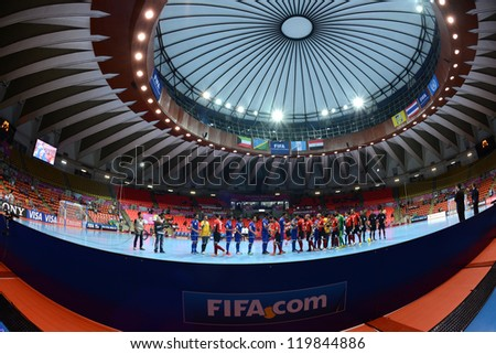 BANGKOK,THAILAND-NOVEMBER 09:Players of Kuwait and Players of Egypt Shake hands  during the FIFA Futsal World Cup between Kuwait and Egypt at Indoor Stadium Huamark on Nov9, 2012 in Bangkok, Thailand. - stock photo