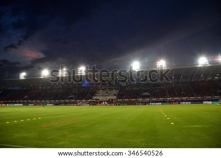 BANGKOK THAILAND-November 21: Supachalasai Stadium, football Toyota League cup between Sisaket FC and Buriram UTD. , at Supachalasai Stadium on November 21,2015:Thailand.