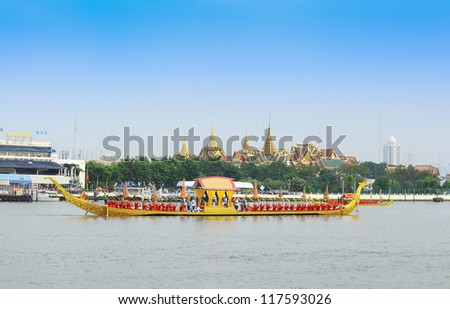 "BANGKOK,THAILAND-NOVEMBER 2: ""Suphannahong"" ship was set for the dress rehearsal of the Royal Barge Procession for the Royal Kathin Ceremony at Chaopraya river on November 2,2012 in Bangkok,Thailand"