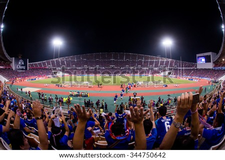 BANGKOK,THAILAND NOVEMBER 12: Supporters of Thailand during the 2018 FIFA World Cup Qualifier between Thailand and Chinese Taipei at Rajamangala Stadium on Nov 12, 2015 in Thailand.
