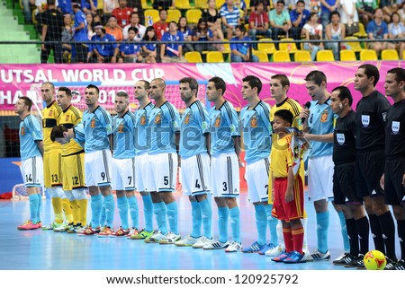 BANGKOK,THAILAND-NOVEMBER 11: Thailand players  looks on the national anthem during the FIFA Futsal World Cup between Thailand and Spain at Nimibutr Stadium on November 11, 2012 in Bangkok, Thailand.