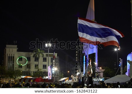 BANGKOK THAILAND-NOVEMBER 10 : Thailand Protesters Protest by against the government corruption and the controversial amnesty bill at Democracy Monument on November 10, 2013