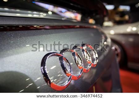 BANGKOK, THAILAND - NOVEMBER 2:The emblem on the back of a Audi logo car on display at The  32nd Thailand International Motor Expo on November 2, 2015 in Bangkok, Thailand.