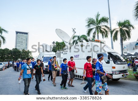 BANGKOK,THAILAND - NOVEMBER 12 : The group of Thailand football team's fanclubs  are at Rajamangala Stadium before big match between Thailand and Taiwan  in Bangkok,Thailand on November 12,2015        - stock photo
