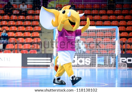 BANGKOK,THAILAND-NOVEMBER03:The official mascot elephant show halftime during the FIFA Futsal World Cup between Egypt and Serbia at Indoor Stadium Huamark on November 3, 2012 in Bangkok, Thailand. - stock photo
