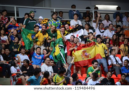 BANGKOK,THAILAND-NOVEMBER18:Unidentifie fan of Spain and Brazil supporters during the FIFA Futsal World Cup Final between Spain and Brazil at Indoor Stadium Huamark on Nov18, 2012 in Bangkok,Thailand. - stock photo