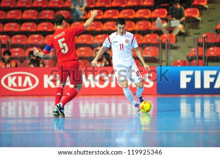BANGKOK, THAILAND - NOVEMBER 12: Unidentified player in FIFA Futsal World Cup Round of 16 match between Russia and Czech Republic at Indoor Stadium Huamark on November 12, 2012 in Bangkok, Thailand. - stock photo