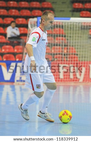 BANGKOK, THAILAND - NOVEMBER 06: Unidentified players in FIFA Futsal World Cup Group E match between Egypt and Czech Republic at Indoor Stadium Huamark on November 6, 2012 in Bangkok, Thailand. - stock photo