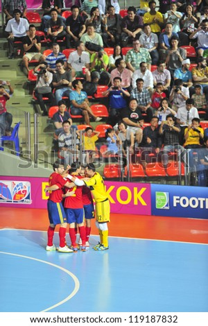 BANGKOK, THAILAND - NOVEMBER 16: Unidentified players in FIFA Futsal World Cup Semi-Final match between Italy and Spain at Indoor Stadium Huamark on November 16, 2012 in Bangkok, Thailand.