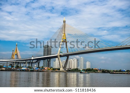BANGKOK , THAILAND - OCT 30,2016 : Bhumibol bridge with blue sky on OCT ,2016 in BANGKOK