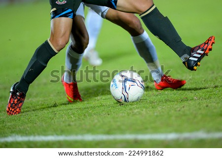 BANGKOK THAILAND-Oct15:Detail of cleats during the first leg of the Thai Premier League Between Army Utd F.C.and Chonburi F.C.at Royal Thai Army Stadium on October15,2014 in Thailand - stock photo