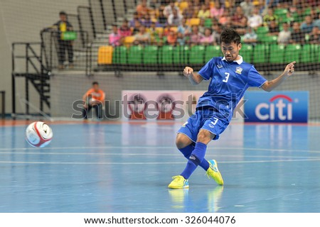 BANGKOK THAILAND-OCT9:Konghla Lhekhla of Thailand in action during 2015 AFF Futsal Championship Match between Thailand and Singapore at Bangkok Arena Stadium on October9,2015in Thailand