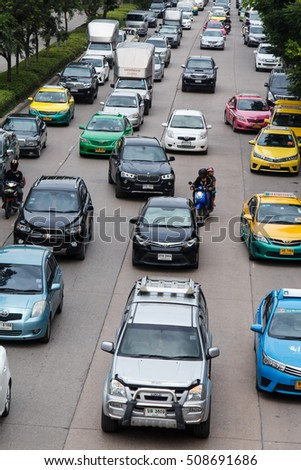 BANGKOK, THAILAND - Oct 29, 2016: Rush hour of traffic on daytime, Bangkok, Thailand on October 29, 2016.