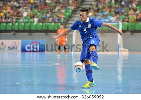 BANGKOK THAILAND-OCT9:Suphawut Thueanklang of Thailand in action during 2015 AFF Futsal Championship Match between Thailand and Singapore at Bangkok Arena Stadium on October9,2015in Thailand
