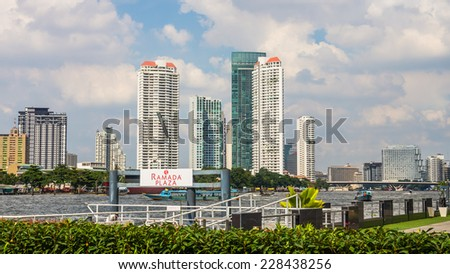 BANGKOK, THAILAND - OCTOBER 31, 2014: Cityscape of Bangkok, capital of Thailand. The city occupies 1568 square kilometers in the Chao Phraya River delta with a population of over 8 million inhabitants