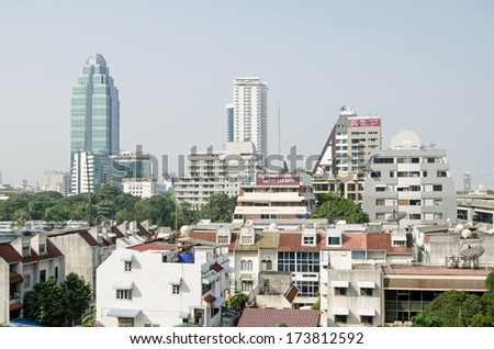 BANGKOK, THAILAND - OCTOBER 26 2013: Office and apartment blocks dominating the skyline in the Sukhumvit district of central Bangkok.