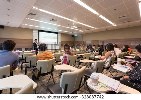 Bangkok, Thailand - October 15, 2015: Peoples participating the business training in conference room.  - stock photo