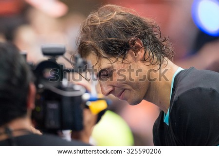 BANGKOK THAILAND OCTOBER 02:Rafael Nadal of Spain in action during the Black to Thailand Nadal vs Djokovic exhibition match at Hua Mark Indoor Stadium on Oct 2, 2015 in,Thailand