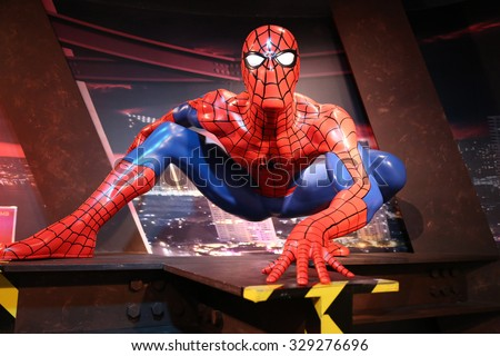 Bangkok, Thailand - October 26, 2014 : Spiderman waxwork figure 2 -Madame Tussauds Siam - stock photo