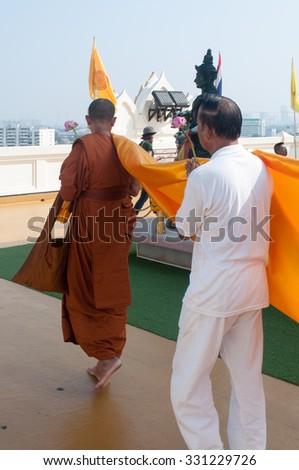 BANGKOK, THAILAND - OCTOBER 24, 2015: Thai monk in temple,Bangkok,Thailand on October 24,2015 - stock photo