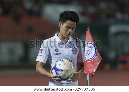 BANGKOK,THAILAND:October 2015:Thirathon Bunmathan Player of Buriram UTD,in football Toyota League cup 2015 between Army UTD. and Buriram UTD.at Army Stadium on October,21,2015inThailand.