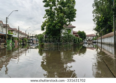 Bangkok, Thailand - October 3, 2015 : Water flood village in Don Mueang district. Problem with the drainage system.
