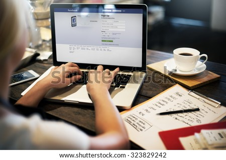 BANGKOK, THAILAND-October 2,2015: Young Woman Using Facebook Application on her Laptop - stock photo