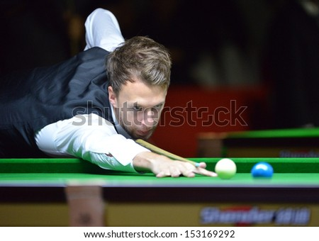 Bangkok, Thailand - SEP 3:Judd Trump of England participates in a Sangsom Six-red World Championship 2013 at Montien Riverside Hotel on September 3, 2013 in Bangkok, Thailand.