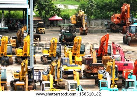BANGKOK-THAILAND-SEP 17 : Loader and machines in factory of construction on September 17, 2013 Bangkok, Thailand - stock photo