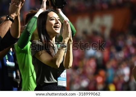 BANGKOK THAILAND-SEP20:Thai Port Fc club president Nuanphan Lamsam during Thai Premier League2015 between Thai Port Fc and Chonburi F.C.at PAT Stadium on September20,2015 in Bangkok Thailand - stock photo