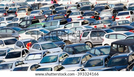 Bangkok, Thailand - September 20, 2015 : Car park for commuter at subways and sky train in midtown of Bangkok.