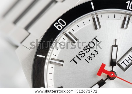 BANGKOK, THAILAND - SEPTEMBER 03, 2015: Closeup logo of TISSOT on Tissot PRS 516 Automatic watch. Tissot is a luxury Swiss watchmaking company founded in Switzerland.