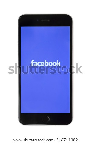 BANGKOK, THAILAND -SEPTEMBER 15, 2015.Facebook app logo display on iphone screen on September 15,2015 in Thailand - stock photo