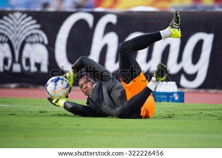 BANGKOK,THAILAND SEPTEMBER 08:Goalkeeper Kawin Thamsatchanan of Thailand in action during the 2018 FIFA World Cup Qualifier between Thailand and Iraq at Rajamangala Stadium on Sep 8, 2015 in Thailand. - stock photo