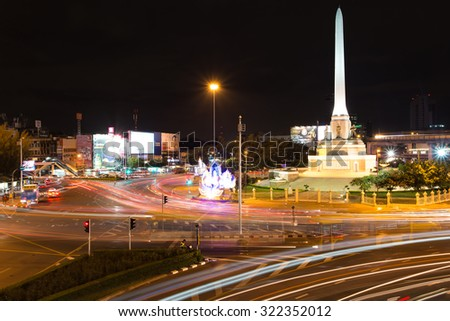 BANGKOK, THAILAND - SEPTEMBER 11 : Night life at Victory Monument on 11 September 2015. The monument was erected in June 1941 to commemorate the Thai victory in the Franco-Thai War.