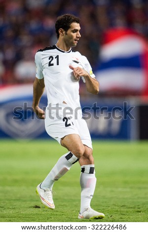 BANGKOK,THAILAND SEPTEMBER 08:Saad Abdul-Amir no.21 of Iraq in action during the 2018 FIFA World Cup Qualifier between Thailand and Iraq at Rajamangala Stadium on Sep 8, 2015 in Thailand. - stock photo