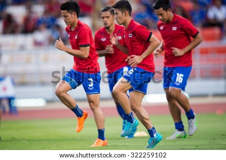 BANGKOK,THAILAND SEPTEMBER 08:Sarach Yooyen no.6 (L2) of Thailand  in actionduring the 2018 FIFA World Cup Qualifier between Thailand and Iraq at Rajamangala Stadium on Sep 8, 2015 in Thailand. - stock photo